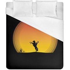 Horse Cowboy Sunset Western Riding Duvet Cover (california King Size) by Nexatart
