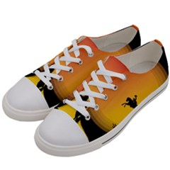 Horse Cowboy Sunset Western Riding Men s Low Top Canvas Sneakers by Nexatart