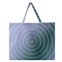 Teal Background Concentric Zipper Large Tote Bag by Nexatart