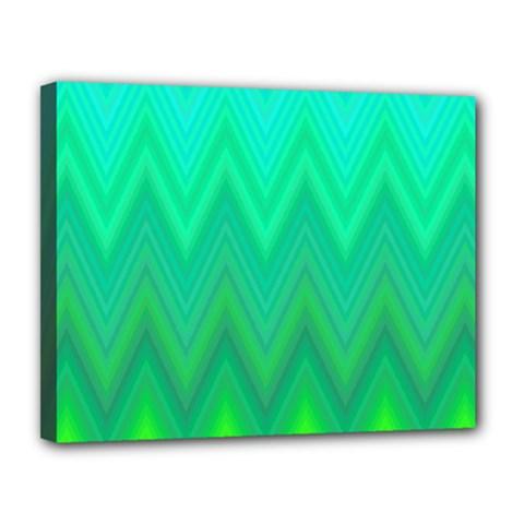 Green Zig Zag Chevron Classic Pattern Canvas 14  X 11  by Nexatart