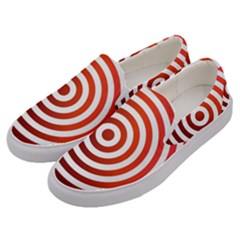 Concentric Red Rings Background Men s Canvas Slip Ons by Nexatart