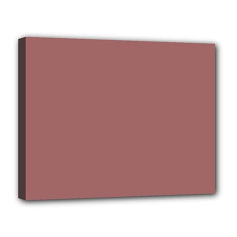 Blush Gold Coppery Pink Solid Color Canvas 14  X 11  by PodArtist