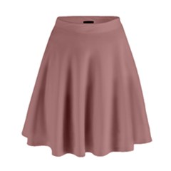 Blush Gold Coppery Pink Solid Color High Waist Skirt by PodArtist