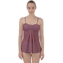 Blush Gold Coppery Pink Solid Color Babydoll Tankini Set by PodArtist