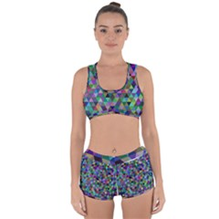 Triangle Tile Mosaic Pattern Racerback Boyleg Bikini Set
