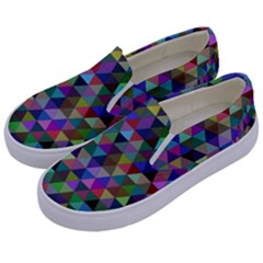 Triangle Tile Mosaic Pattern Kids  Canvas Slip Ons by Nexatart