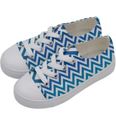 Blue Zig Zag Chevron Classic Pattern Kids  Low Top Canvas Sneakers by Nexatart