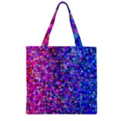 Triangle Tile Mosaic Pattern Zipper Grocery Tote Bag by Nexatart