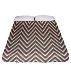 Chevron Retro Pattern Vintage Fitted Sheet (queen Size)