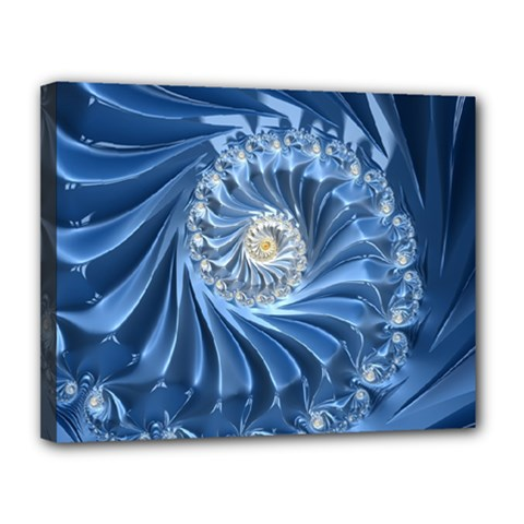 Blue Fractal Abstract Spiral Canvas 14  X 11  by Nexatart