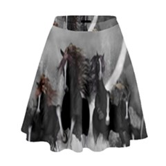 Awesome Wild Black Horses Running In The Night High Waist Skirt by FantasyWorld7