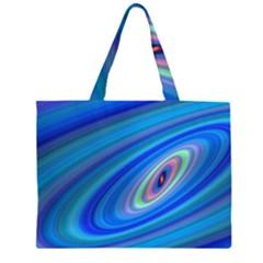 Oval Ellipse Fractal Galaxy Zipper Large Tote Bag by Nexatart