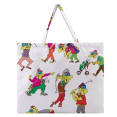 Golfers Athletes Zipper Large Tote Bag by Nexatart