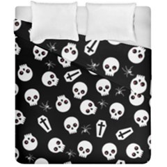 Skull, Spider And Chest    Halloween Pattern Duvet Cover Double Side (california King Size) by Valentinaart