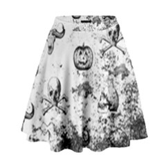 Vintage Halloween Pattern High Waist Skirt by Valentinaart