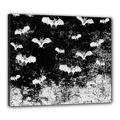Vintage Halloween Bat Pattern Canvas 24  X 20  by Valentinaart