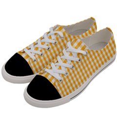 Pale Pumpkin Orange And White Halloween Gingham Check Women s Low Top Canvas Sneakers by PodArtist