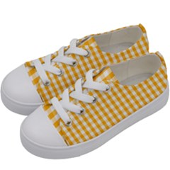 Pale Pumpkin Orange And White Halloween Gingham Check Kids  Low Top Canvas Sneakers by PodArtist