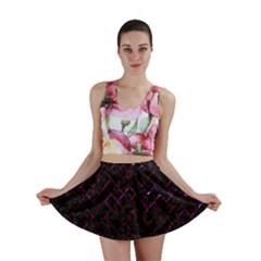 Brick2 Black Marble & Burgundy Marble Mini Skirt by trendistuff