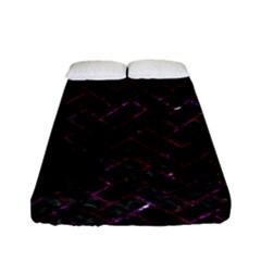 Brick2 Black Marble & Burgundy Marble Fitted Sheet (full/ Double Size)