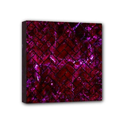 Brick2 Black Marble & Burgundy Marble (r) Mini Canvas 4  X 4  by trendistuff
