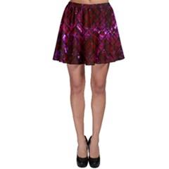 Brick2 Black Marble & Burgundy Marble (r) Skater Skirt by trendistuff