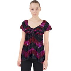 Chevron3 Black Marble & Burgundy Marble Lace Front Dolly Top