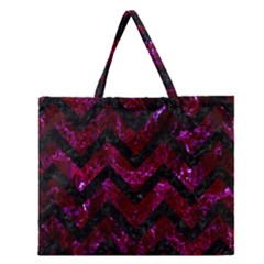 Chevron9 Black Marble & Burgundy Marble (r) Zipper Large Tote Bag by trendistuff