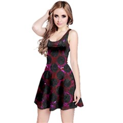 Circles2 Black Marble & Burgundy Marble (r) Reversible Sleeveless Dress by trendistuff