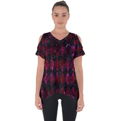 Diamond1 Black Marble & Burgundy Marble Cut Out Side Drop Tee