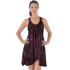Damask1 Black Marble & Burgundy Marble Show Some Back Chiffon Dress by trendistuff