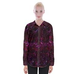Damask2 Black Marble & Burgundy Marble (r) Womens Long Sleeve Shirt
