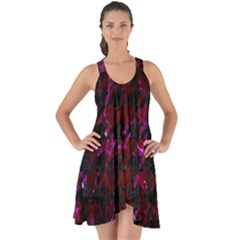Houndstooth1 Black Marble & Burgundy Marble Show Some Back Chiffon Dress by trendistuff