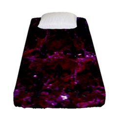 Royal1 Black Marble & Burgundy Marble Fitted Sheet (single Size) by trendistuff
