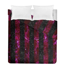 Stripes1 Black Marble & Burgundy Marble Duvet Cover Double Side (full/ Double Size) by trendistuff