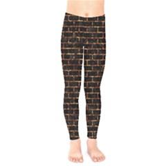 Brick1 Black Marble & Copper Foilper Foil Kids  Legging by trendistuff