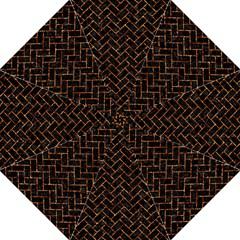 Brick2 Black Marble & Copper Foil Golf Umbrellas by trendistuff