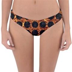 Circles1 Black Marble & Copper Foil (r) Reversible Hipster Bikini Bottoms by trendistuff