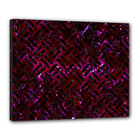 Woven2 Black Marble & Burgundy Marble (r) Canvas 20  X 16  by trendistuff