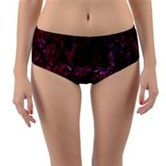 Tile1 Black Marble & Burgundy Marble (r) Reversible Mid Waist Bikini Bottoms