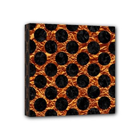 Circles2 Black Marble & Copper Foil (r) Mini Canvas 4  X 4  by trendistuff