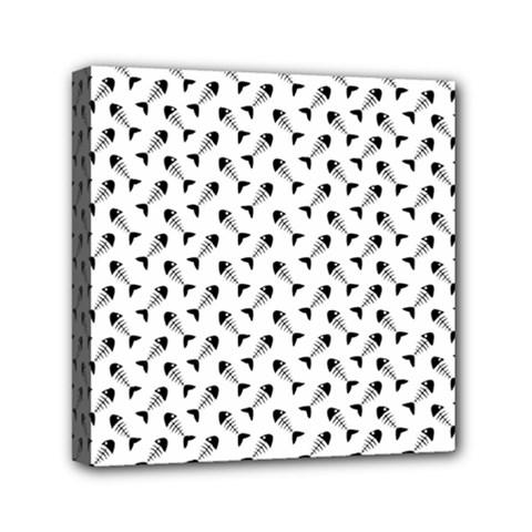 Fish Bones Pattern Mini Canvas 6  X 6  by Valentinaart