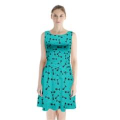 Fish Bones Pattern Sleeveless Waist Tie Chiffon Dress by ValentinaDesign