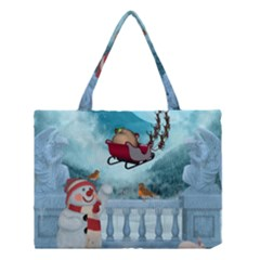Christmas Design, Santa Claus With Reindeer In The Sky Medium Tote Bag by FantasyWorld7