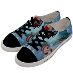 Christmas Design, Santa Claus With Reindeer In The Sky Men s Low Top Canvas Sneakers by FantasyWorld7
