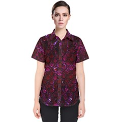 Scales2 Black Marble & Burgundy Marble (r) Women s Short Sleeve Shirt