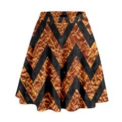 Chevron9 Black Marble & Copper Foil (r) High Waist Skirt by trendistuff