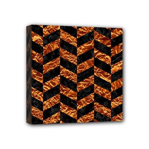 Chevron1 Black Marble & Copper Foil Mini Canvas 4  X 4  by trendistuff