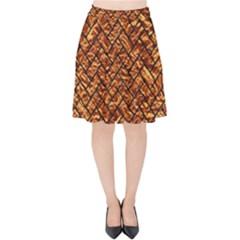 Brick2 Black Marble & Copper Foil (r) Velvet High Waist Skirt by trendistuff