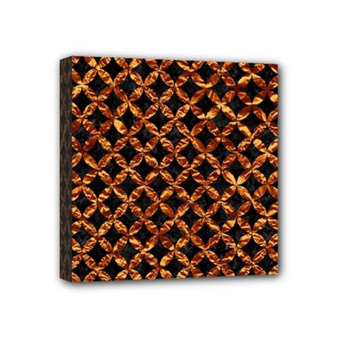 Circle3 Black Marble & Copper Foilper Foil Mini Canvas 4  X 4  by trendistuff